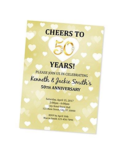 50th Golden Wedding Anniversary Invitation Heart 50th
