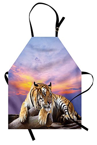 Ambesonne Safari Apron, Tiger Lying on Wood Blue Sky Colorful Sunset Pose Strpies Claws, Unisex Kitchen Bib Apron with Adjustable Neck for Cooking Baking Gardening, Lavander Lilac Beige (Tiger Woods Costume Ideas)