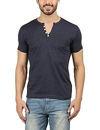 Men's Navymelange Henley Tshirt