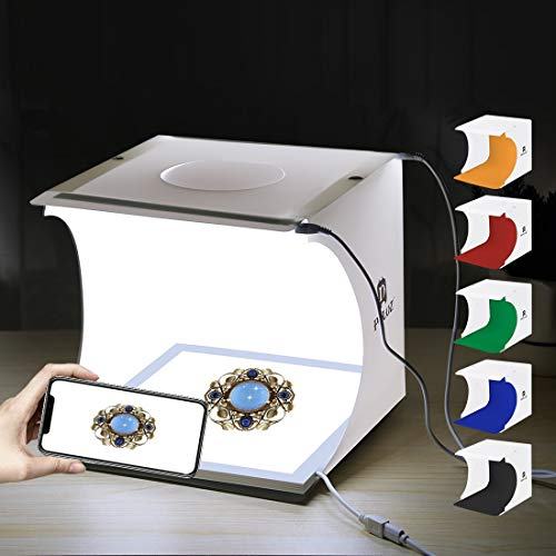 ▶ Caja de Luz Estudio Fotográfico Portátil Semi Profesional. Kit para Fotografía de Producto con Iluminación de Luz LED...