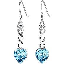 BriLove Women 925 Sterling Silver Sweet Heart Shape Swirl Hook Dangle Earrings Adorned with Swarovski Crystals