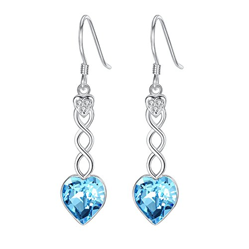 BriLove 925 Sterling Silver Dangle Earrings Swarovski Crystal Sweet Heart Swirl Women Hook Earrings Aquamarine Color March Birthstone