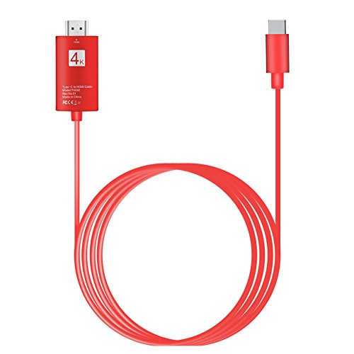 USB C to HDMI Cable 6.6FT ,LCJ USB Type C to HDMI Cable 4K 60HZ Thunderbolt 3 Compatible with Aluminium Housing for Samsung Galaxy S8/S8+,2016/2017 Macbook Pro/ iMac ,HUAWEI Mate10/Mate10 Pro(Red)