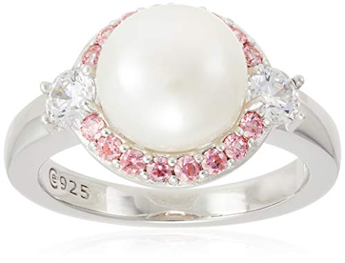 Platinum Plated Sterling Halo Pearl Ring