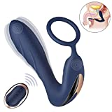 Vibrating Prostate Massager with Cock Ring - BOMBEX 10 Patterns Anal Plug with Remote Control - Silicone G-spot Vibrator Sex Toys for Men - Women and Couple