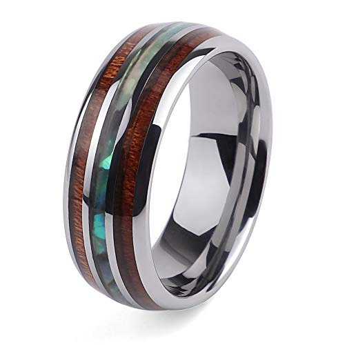 2People Hawaiian Wood and Abalone Shell Tungsten Carbide Rings Wedding Bands for Men (10.5) ()