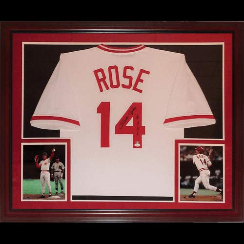 Pete Rose Autographed Signed Auto Cincinnati Reds White #14 Deluxe Framed Jersey 4256' - Certified ()