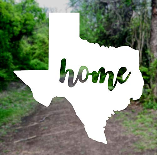 Texas Home State Silhouette [Pick Any Color] Vinyl Transfer Sticker Decal for Laptop/Car/Truck/Window/Bumper (5in x 5in (Car Size), White)