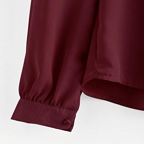 mousseline Rouge Vin manches Femme Chemisier t plier Hauts de soie lache longues chemise Malloom en 4I6OSWIq