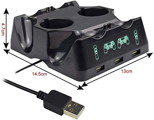 4 in 1 PS4 Controller Charger[Upgraded Version], Quad Charging Staion, 3 USB Interface Charging Desk for Sony Playstation 4/PS4/PS4 Pro/PS4 Slim/PS Move with LED Indicator 41ZQqjGVmOL
