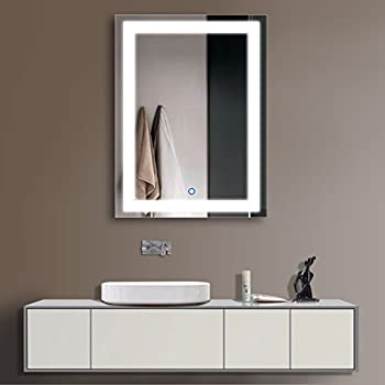 Horizontal LED Bathroom Silvered Mirror with Touch Button(D-CK010-ACDEFG) (24 x 32 CK010)