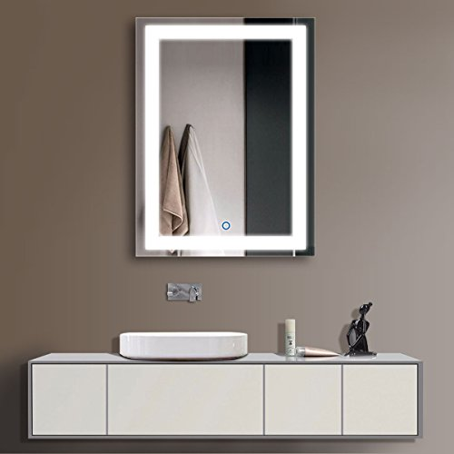 Horizontal LED Bathroom Silvered Mirror with Touch Button(D-CK010-ACDEFG) (24 x 32 CK010) by D-HYH