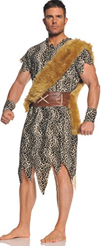 Cave Man Outfit (Underwraps Men's Plus-Size Cave Dweller, Leopard/Brown/Tan,)
