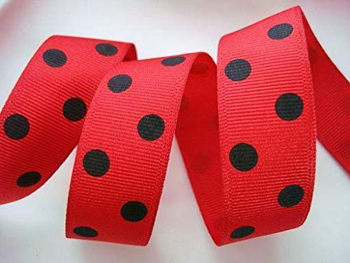 Ribbon Art Craft Decoration 5 Yards Dippy Polka Dots Grosgrain 7/8