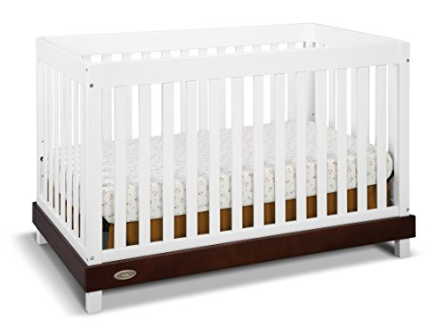 Graco Maddox Convertible Crib, White/Espresso, Easily Converts to Toddler Bed Day Bed or Full Bed, Three Position Adjustable Height Mattress, Some Assembly Required (Mattress Not Included)