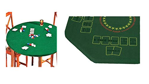 Fitted Round Elastic Edge Felt Poker Table Cover Blackjack Texas Holdem Fits 36