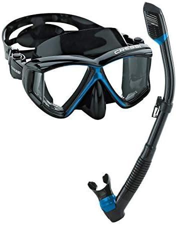 Cressi Adult Diving Dry Snorkel with Splash Guard and Top Valve Clear Black Supernova Dry Snorkel