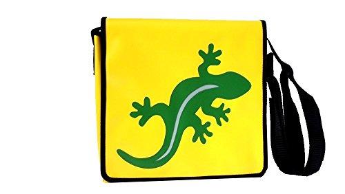 Schultertasche Tiermotiv Smaragdgrün+Silber Gecko H 32, B 36, T 11 cm