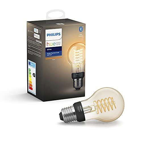 Philips Hue Filament Lamp 1-Pack – E27 – Vintage Globevorm A60 – Duurzame LED Verlichting – Warmwit Licht – Dimbaar…