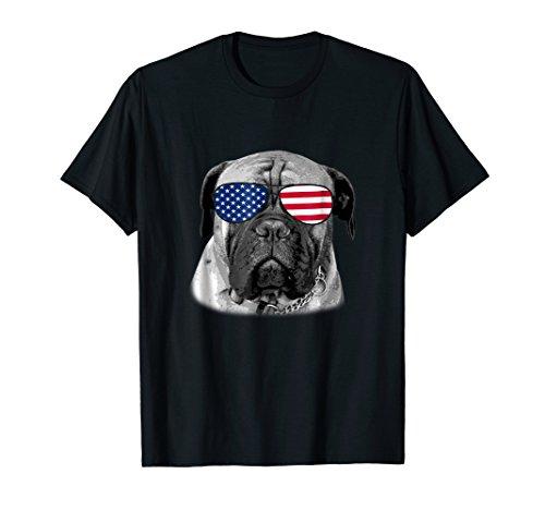 Patriotic Bullmastiff Dog Merica T-Shirt 4th of july