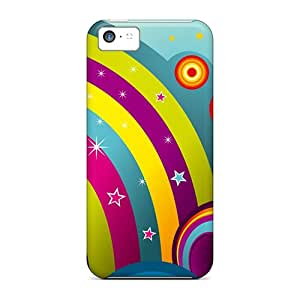 New Style Case Cover KMJsE26665oofoO Vector Rainbows Compatible With Iphone 5c Protection Case