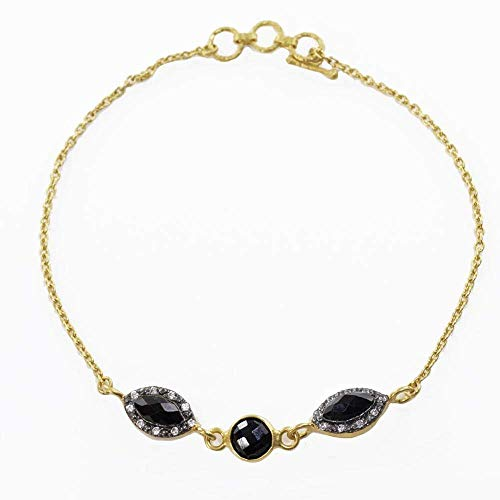 Sivalya 18K Gold Over Sterling Silver Black Onyx and Pave Crystals Bracelet 7