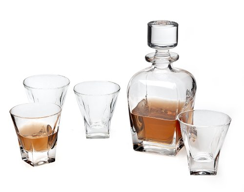 Godinger Silver Art Madison Avenue Crystal 5-piece Whiskey Set With 680 ml Decanter And 4 6 Oz. Double Old Fashioned Glasses