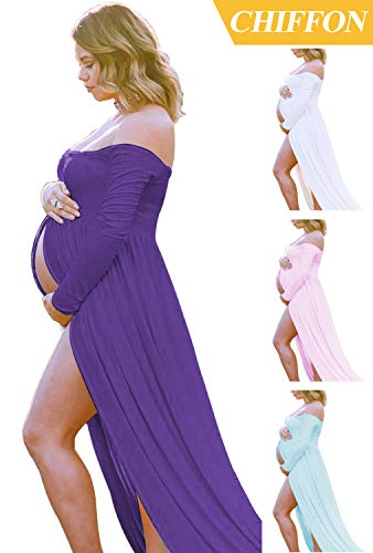 PurpleMaternityDress off Shoulder Long Sleeve Chiffon Gown Split Front Maxi Pregnancy PhotographyDress for Photoshoot APurple