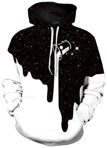 FLYCHEN Men's Digital Print Sweatshirts Hooded Top Galaxy Pattern Hoodie L/XL Fashion Black White (Sweatshirt Print)