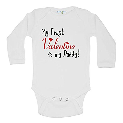 Snappy Suits My First Valentine Is My Grandpa! Valentines Day Baby Creeper 1Z Infant Suit Romper by Long Sleeve (3-6 Months)