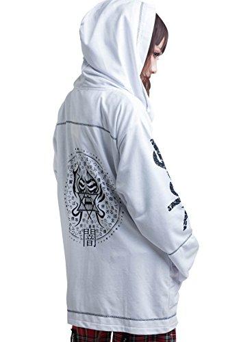 JPL Japan Street Punk Evil God Saga Kanji Of Curse Unisex Hood Track Jacket【JAG0052】 (White) ()