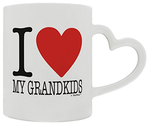 Birth Announcement Gifts I Love My Grandkids Valentines Day Gift for New Grandma or Grandpa Heart Handle Gift Coffee Mug Tea Cup White