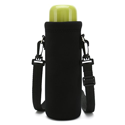 Baocool Insulated Water/Wine/Tea Bottle carrier Sling Bag Pouch Case with Shoulder Strap,Bottle Holder Cross-Body Shoulder Bag for Outdoor Sports Camping Travel (1000ML, Cool Black)