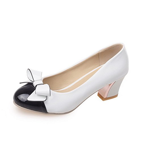 Allhqfashion Womens Assorted Color Pu Tacchi Tacchi Tondi Punta Chiusa Tira Su Pumps-shoes Bianco