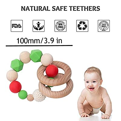 Baby Silicone Teether Beads Nursing Bracelet with Wooden teether Rings BPA Free Sensory Activity teether Rattle Toy Handmade Christmas Series DIY Teething Accessories: Toys & Games