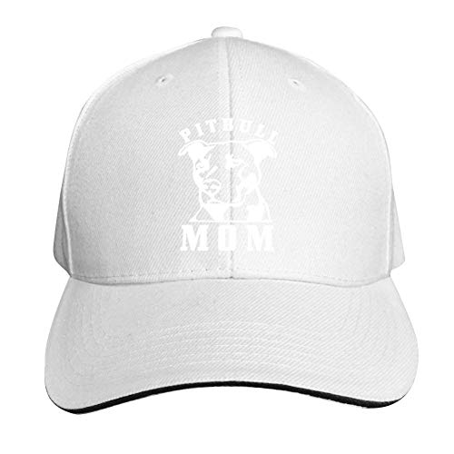 ADBOSS Proud Pitbull Mom Hipster Adjustable Baseball Caps Vintage Sandwich Hat Sandwich Cap Peaked Trucker Dad Hats White