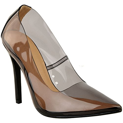 Fashion Thirsty Womens Perspex Pointed Toe Clear Court Shoes Stiletto High Heels Pumps Size 9