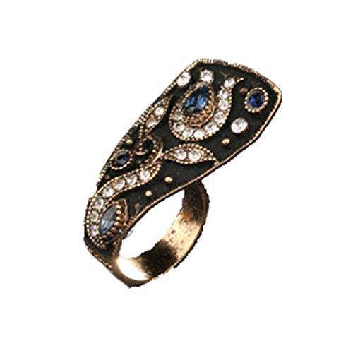 MARRLY.H Unique Vintage Wedding Ring Jewelry Black Enamel Color Ancient Gold Party Blue Rings for Women Luxury Crystal Gifts Blue 8 ()