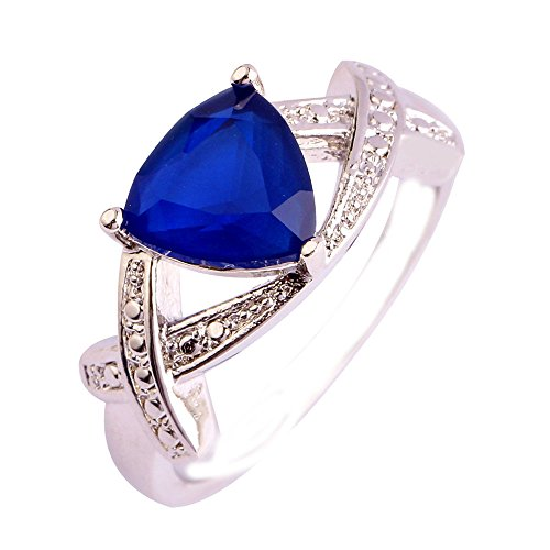 Empsoul 925 Sterling Silver Natural Chic Filled Sapphire Quartz Triangle Cut Infinity Symbol Twist Engagement Ring
