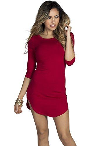 Olive Des Femmes De La Société Babe Manches 3/4 Robe Tunique T-shirt De Rouge