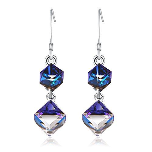 Swarovski Element Love Cubic Tears Drop Earrings with Swarovski Crystal, Blue, Gifts for Women