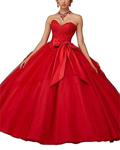de vestidos Appliques XUYUDITA noche largo Quinceanera Vestido fiesta Lace de Sequined Rojo Beading Ball de Gown pq5O7RxCwq