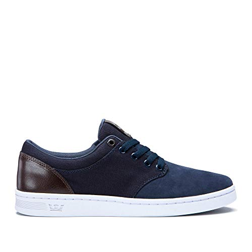 Supra Unisex Chino Court Skateboarding Sneakers Shoes, Navy/Demitasse-White, Size 9