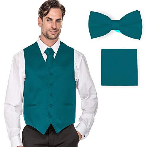MILANO VICHEE Men's Plain Color Tuxedo Vest (4Pcs Set Vest+Tie+Hanky+Bowtie) ()