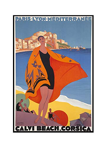 Calvi Beach Corsica Vintage Poster (artist: Broders, Roger) France c. 1928 (22 3/8x36 Framed Gallery Wrapped Stretched Canvas)