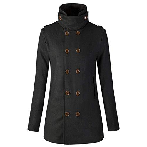 Jacken Femme Col Roul Trench Printemps Automne Unicolore Spcial Style Elgante Mode Manches Longues avec Poches Double Boutonnage Manteau Outerwear Parka Schwarz