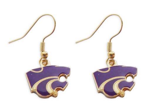 - NCAA Team/School Logo Hypoallergenic Dangle Earrings (Kansas State Wildcats)