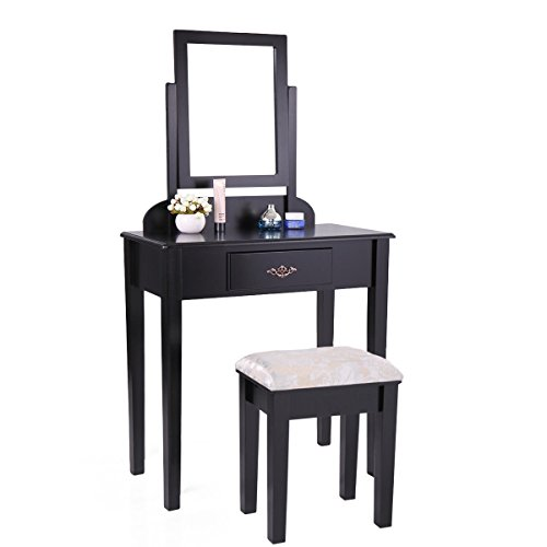 Grace Table Stool (Tobbi Contemporary Dressing Mirror Table Set with Stool Bedroom Vanity Table Black Finish)