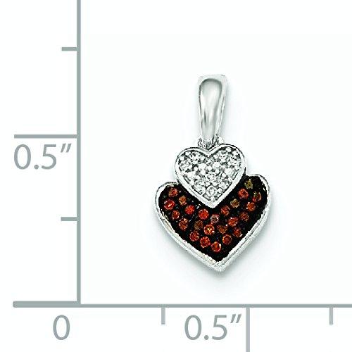 Or blanc 14carats Cognac et diamant blanc pendentif double cœur