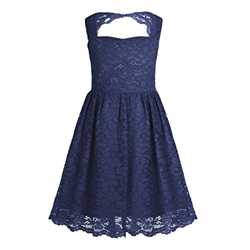 - TiaoBug Girls Sleeveless Cutout Back Floral Bridesmaid Dress Junior Wedding Birthday Party Ball Gown Navy Blue 10